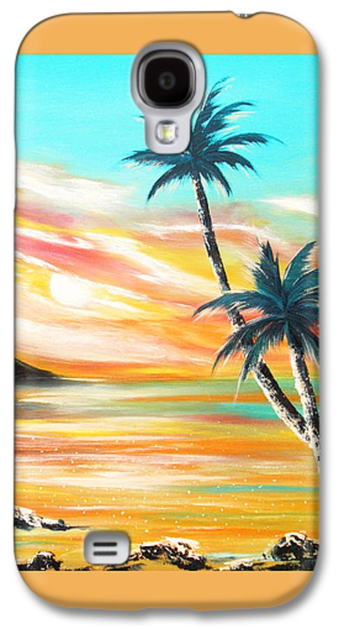 Sunset Galaxy S4 Case featuring the painting Another Sunset In Paradise by Gina De Gorna