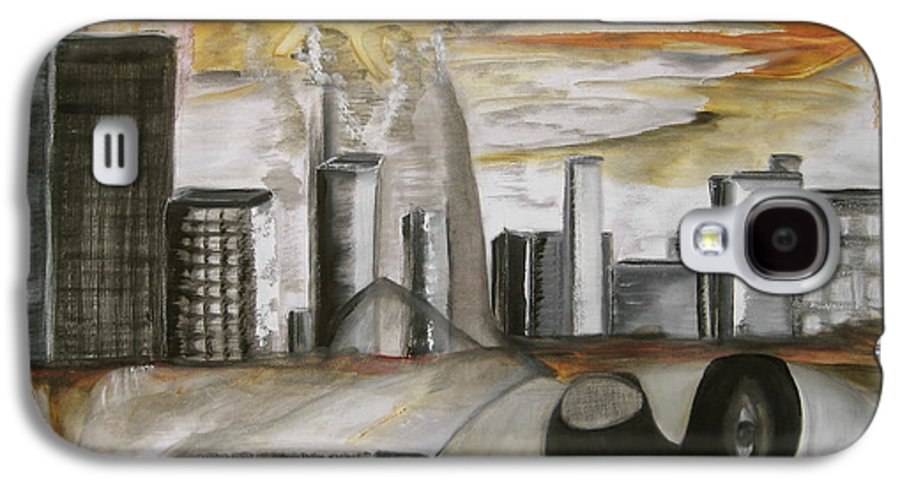 Apocalypse City End Futurism Inch Nails Nin Nine Oil Painting Times Year Zero Galaxy S4 Case featuring the painting Another Version Of The Truth by Darkest Artist
