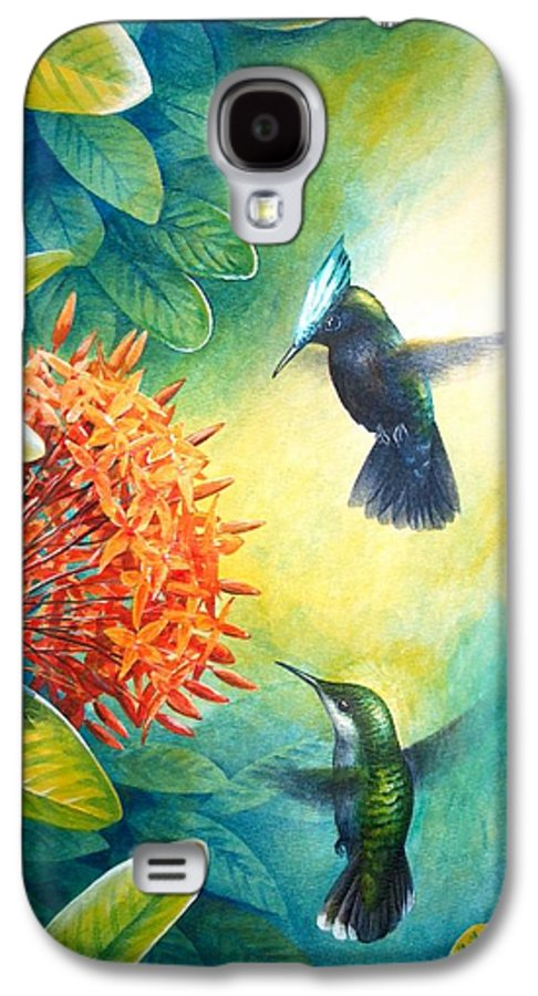Chris Cox Galaxy S4 Case featuring the painting Antillean Crested Hummingbirds And Ixora by Christopher Cox