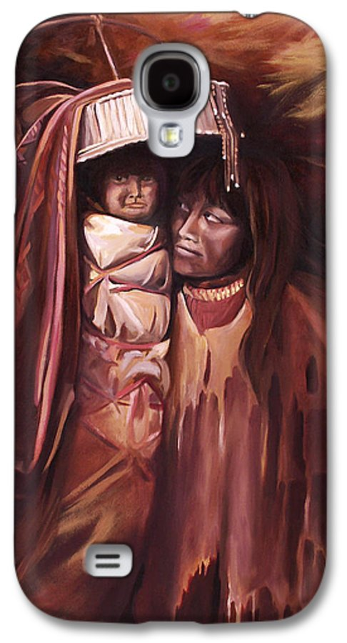 Native American Galaxy S4 Case featuring the painting Apache Girl And Papoose by Nancy Griswold