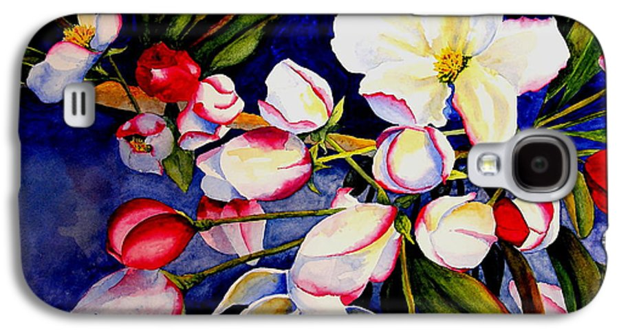 Apple Blossoms Galaxy S4 Case featuring the painting Apple Blossom Time by Karen Stark