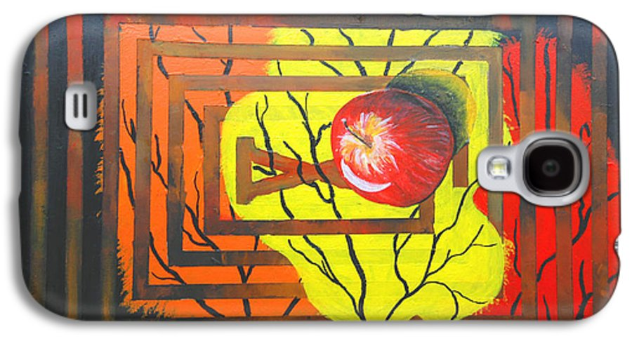 Abstract Galaxy S4 Case featuring the painting Apple by Olga Alexeeva