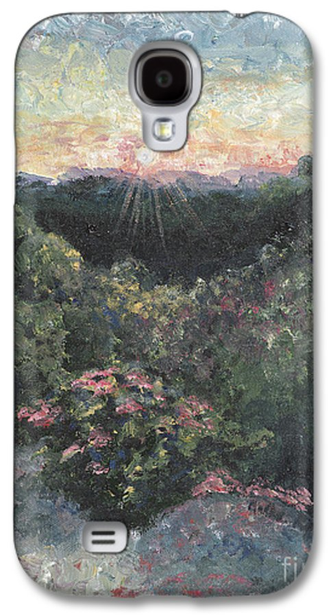 Landscape Galaxy S4 Case featuring the painting Arkansas Mountain Sunset by Nadine Rippelmeyer