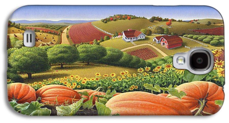 Pumpkin Galaxy S4 Case featuring the painting Farm Landscape - Autumn Rural Country Pumpkins Folk Art - Appalachian Americana - Fall Pumpkin Patch by Walt Curlee