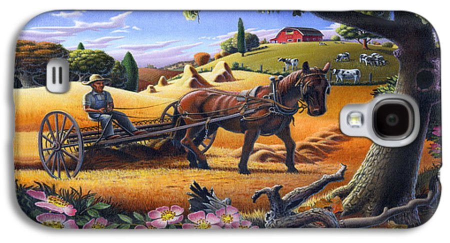 Raking Hay Galaxy S4 Case featuring the painting Raking Hay Field Rustic Country Farm Folk Art Landscape by Walt Curlee