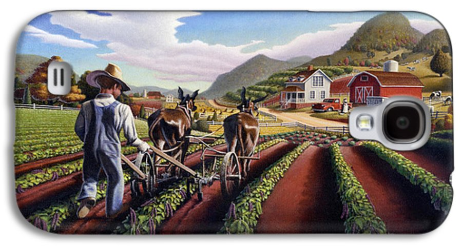 Appalachian Galaxy S4 Case featuring the painting Appalachian Folk Art Summer Farmer Cultivating Peas Farm Farming Landscape Appalachia Americana by Walt Curlee