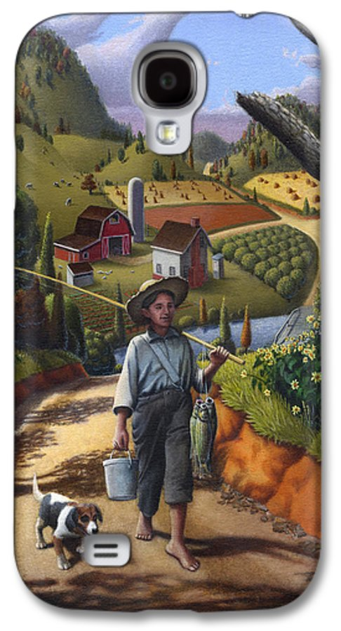 Boy And Dog Galaxy S4 Case featuring the painting Boy And Dog Farm Landscape - Flashback - Childhood Memories - Americana - Painting - Walt Curlee by Walt Curlee
