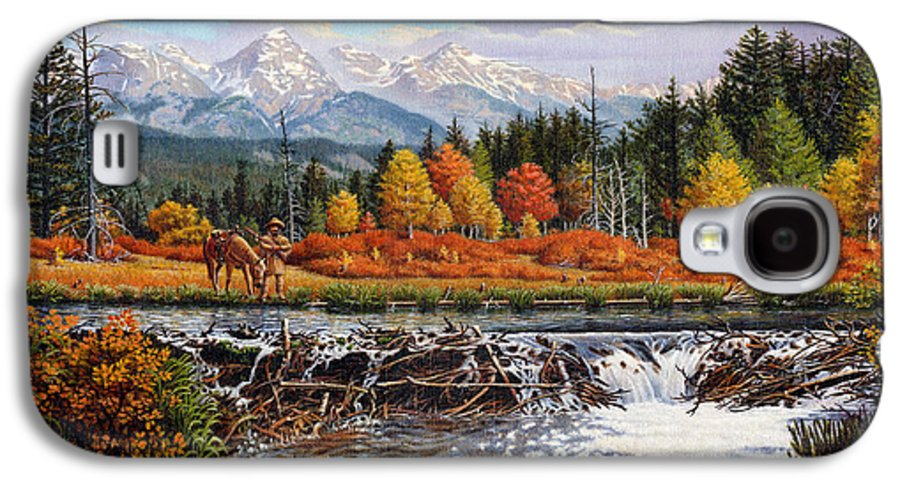 Western Mountain Landscape Galaxy S4 Case featuring the painting Western Mountain Landscape Autumn Mountain Man Trapper Beaver Dam Frontier Americana Oil Painting by Walt Curlee
