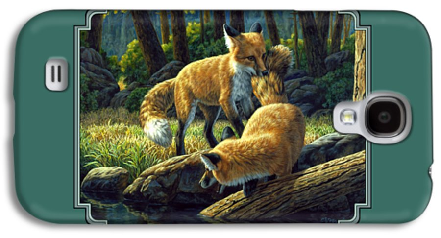 Fox Galaxy S4 Case featuring the painting Red Foxes - Sibling Rivalry by Crista Forest