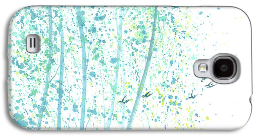 Birds Flying Through An Aspen Forest. This Is A Contemporary Chinese Ink And Color On Rice Paper Painting With Simple Zen Style Brush Strokes. Galaxy S4 Case featuring the painting Aspen Forest by Mui-Joo Wee