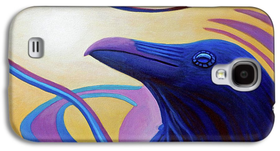 Raven Galaxy S4 Case featuring the painting Astral Raven by Brian Commerford