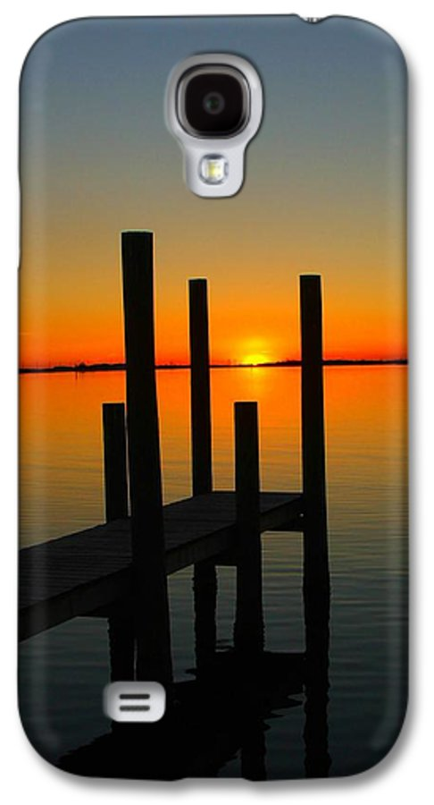 Sunset Galaxy S4 Case featuring the photograph At The Pier by Judy Waller