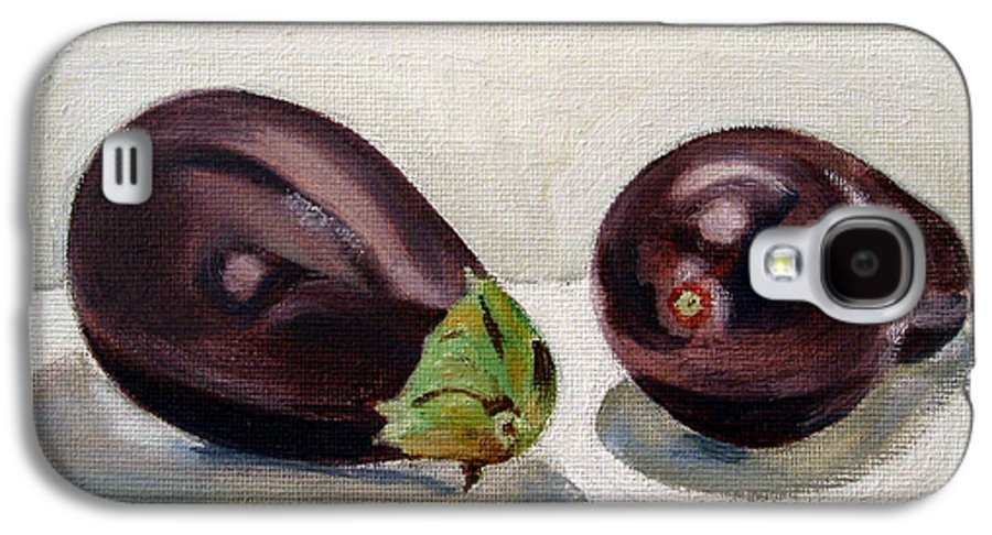 Still-life Galaxy S4 Case featuring the painting Aubergines by Sarah Lynch