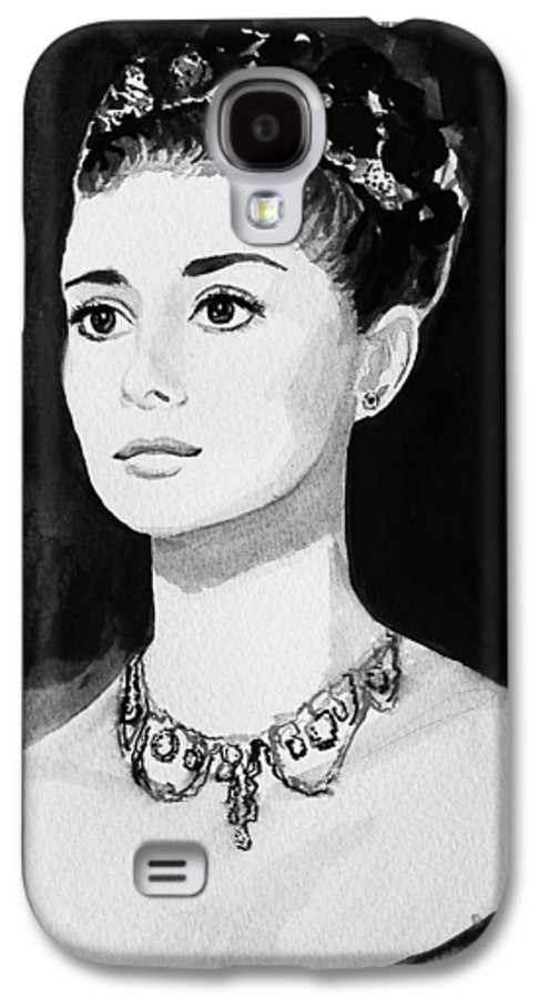 Audrey Hepburn Galaxy S4 Case featuring the painting Audrey by Laura Rispoli