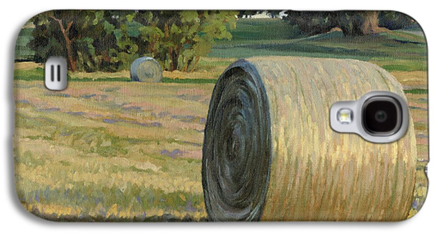 Landscape Galaxy S4 Case featuring the painting August Bales by Bruce Morrison