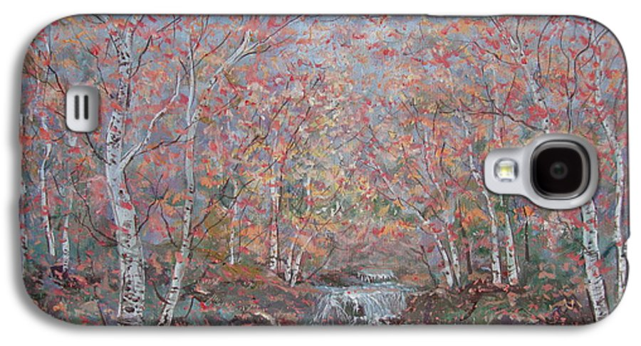 Landscape Galaxy S4 Case featuring the painting Autumn Birch Trees. by Leonard Holland