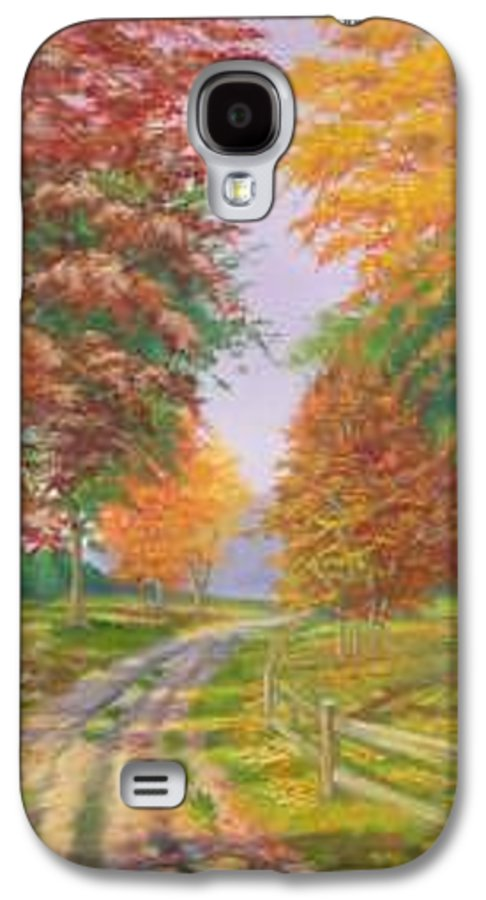 Fall Scene Galaxy S4 Case featuring the painting Autumn Drive by Tan Nguyen