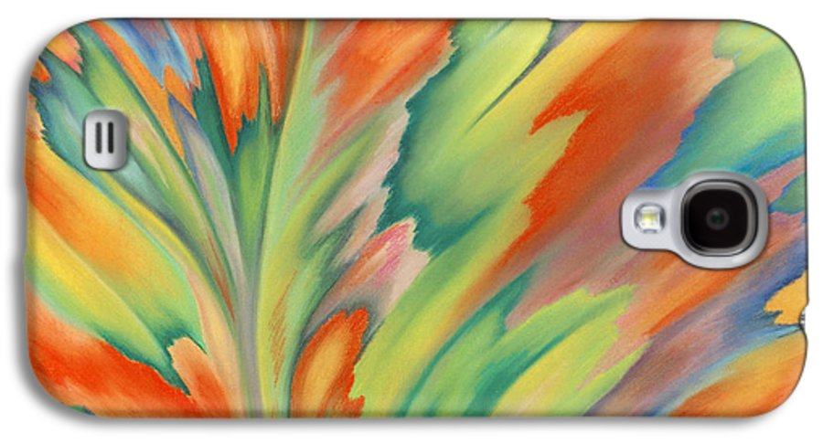 Abstract Galaxy S4 Case featuring the painting Autumn Flame by Lucy Arnold