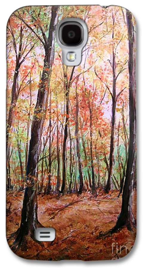 Landscape Galaxy S4 Case featuring the painting Autumn Forrest by Lizzy Forrester