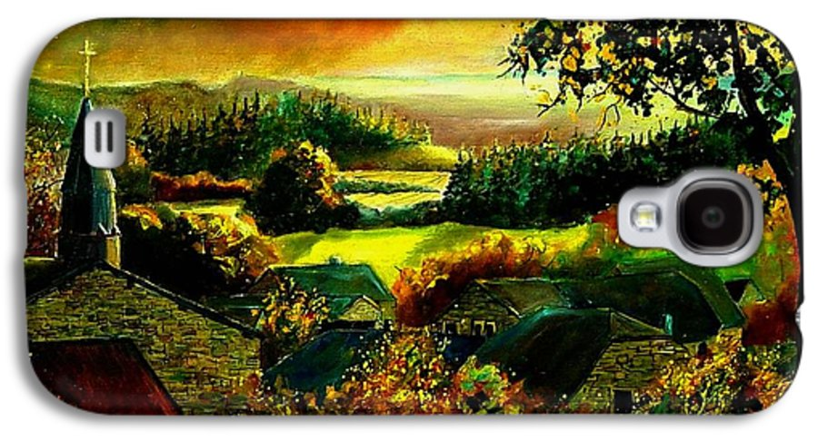 Landscape Galaxy S4 Case featuring the painting Autumn In Our Village Ardennes by Pol Ledent