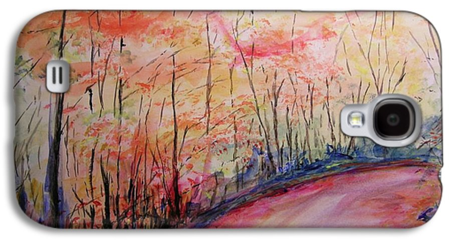 Landsape Galaxy S4 Case featuring the painting Autumn Lane II by Lizzy Forrester