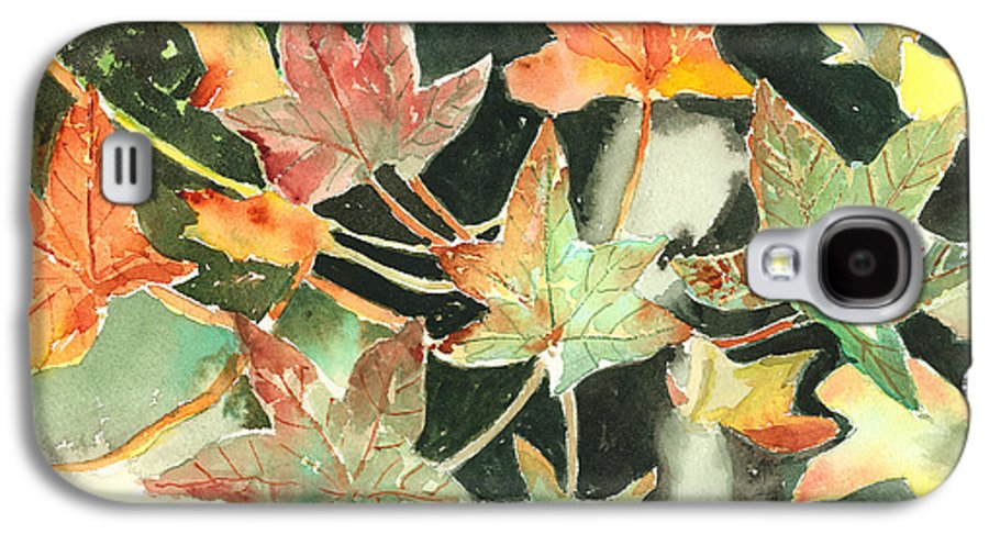 Leaf Galaxy S4 Case featuring the painting Autumn Leaves by Arline Wagner