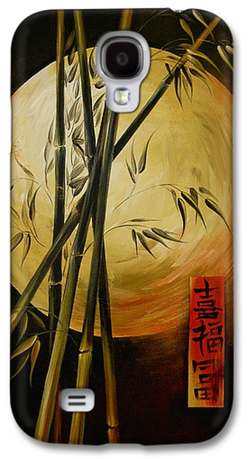 Asian Moon Bamboo Galaxy S4 Case featuring the painting Autumn Moon by Dina Dargo