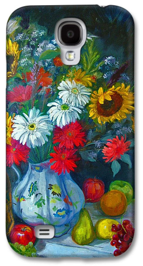Fruit And Many Colored Flowers In Masson Ironstone Pitcher. A Large Still Life. Galaxy S4 Case featuring the painting Autumn Picnic by Nancy Paris Pruden