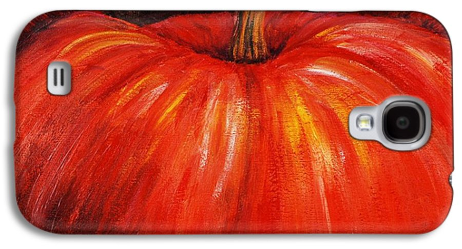 Orange Galaxy S4 Case featuring the painting Autumn Pumpkins by Nadine Rippelmeyer