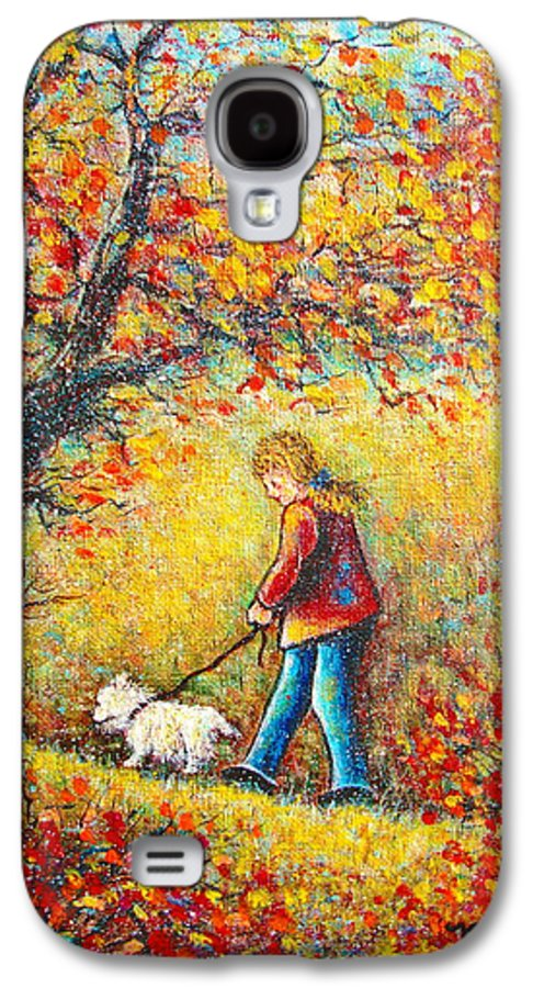 Landscape Galaxy S4 Case featuring the painting Autumn Walk by Natalie Holland