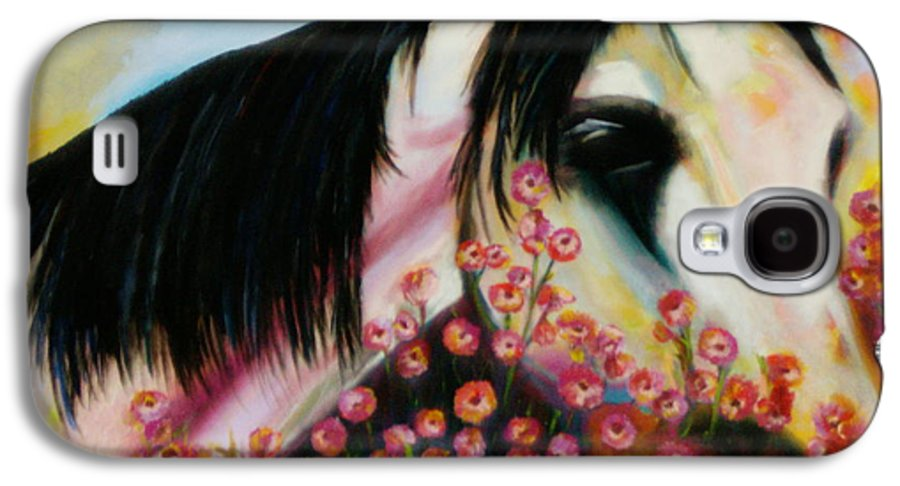 Horse Galaxy S4 Case featuring the painting Avalon's Rose by Sidra Myers