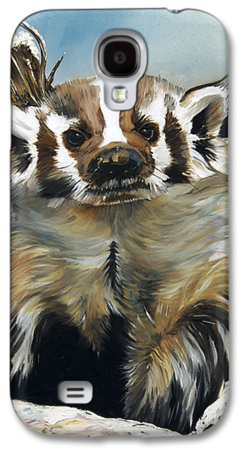 Southwest Art Galaxy S4 Case featuring the painting Badger - Guardian Of The South by J W Baker