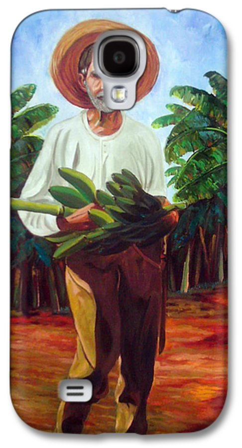 Cuban Art Galaxy S4 Case featuring the painting Banana Farmer by Jose Manuel Abraham
