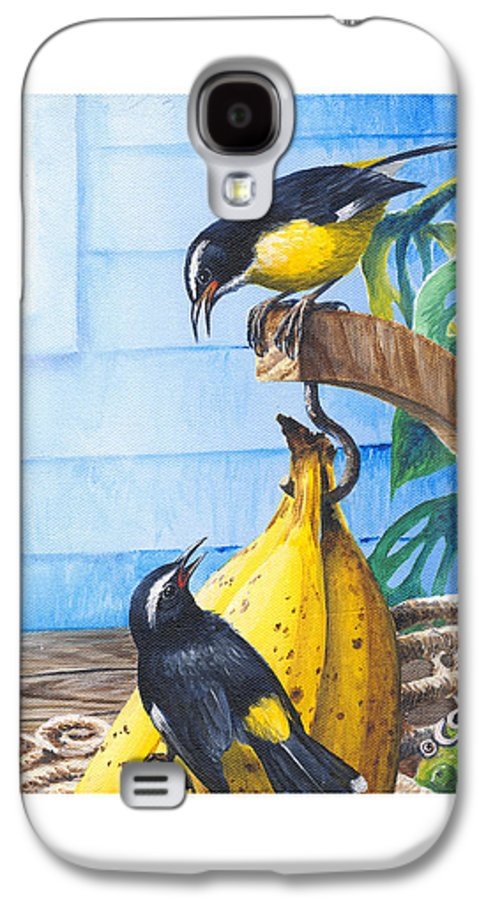 Chris Cox Galaxy S4 Case featuring the painting Bananaquits And Bananas by Christopher Cox