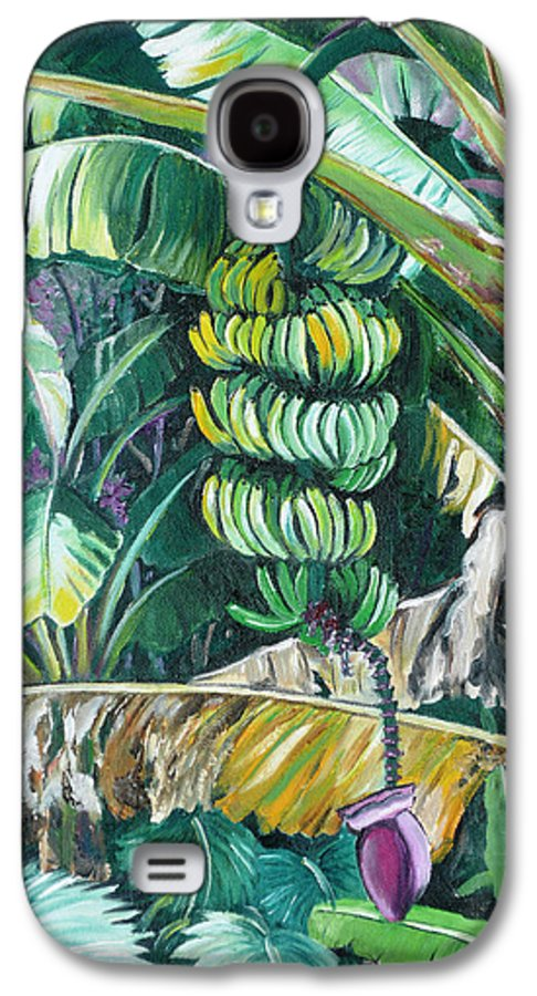 Caribbean Painting Bananas Trees P Painting Fruit Painting Tropical Painting Galaxy S4 Case featuring the painting Bananas by Karin Dawn Kelshall- Best