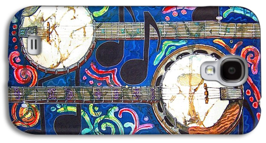 Banjo Galaxy S4 Case featuring the painting Banjos - Bordered by Sue Duda