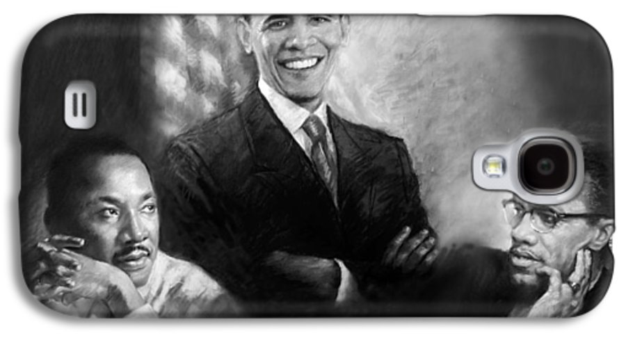 Barack Obama Galaxy S4 Case featuring the pastel Barack Obama Martin Luther King Jr And Malcolm X by Ylli Haruni