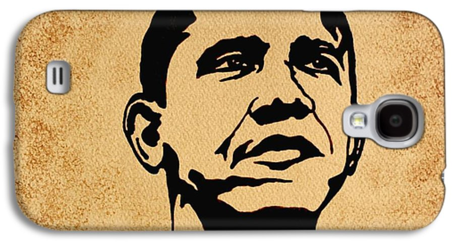 Barack Obama Coffee Painting Pop Art Galaxy S4 Case featuring the painting Barack Obama Original Coffee Painting by Georgeta Blanaru