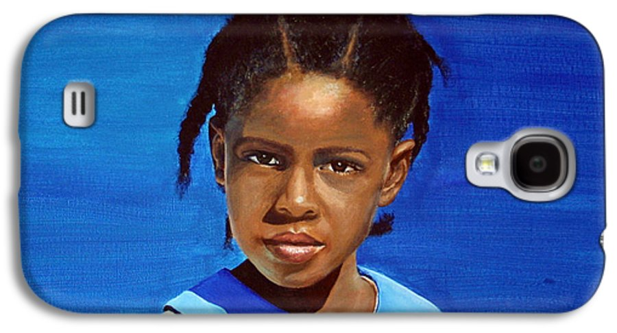 Portrait Galaxy S4 Case featuring the painting Barbuda School Girl by Fiona Jack