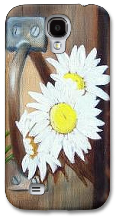 Rustic Barn Door With Metal Latch And Three White Daisies Galaxy S4 Case featuring the painting Barn Door Daisies Sold by Susan Dehlinger