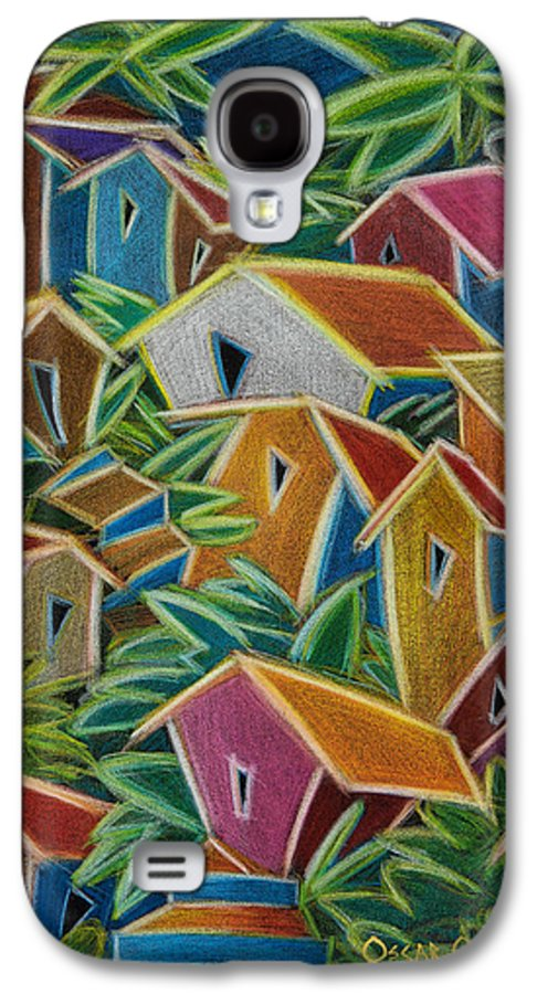 Landscape Galaxy S4 Case featuring the painting Barrio Lindo by Oscar Ortiz