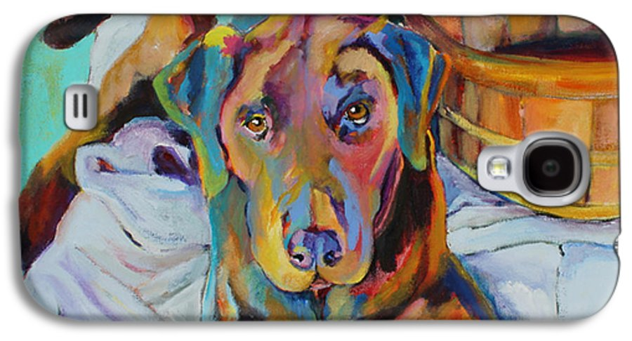 Chocolate Lab Galaxy S4 Case featuring the painting Basket Retriever by Pat Saunders-White