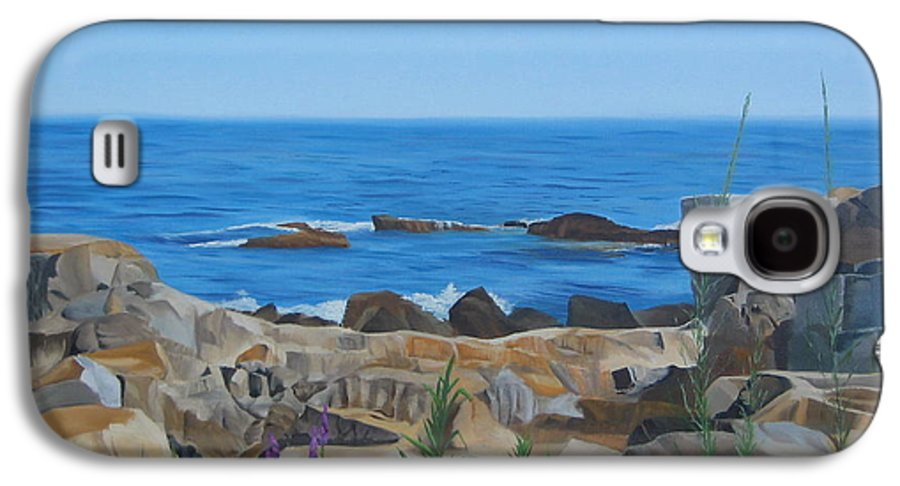 Seascape Galaxy S4 Case featuring the painting Bass Rocks Gloucester by Lea Novak