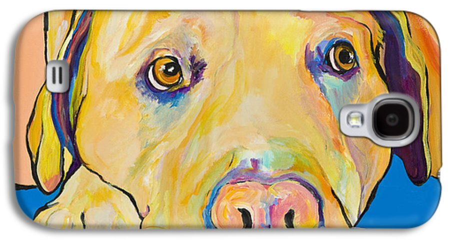 Dog Paintings Yellow Lab Puppy Colorful Animals Pets Galaxy S4 Case featuring the painting Bath Time by Pat Saunders-White