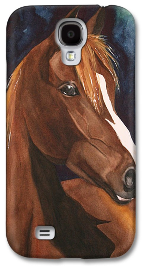 Horse Galaxy S4 Case featuring the painting Bay On Blue 2 by Jean Blackmer