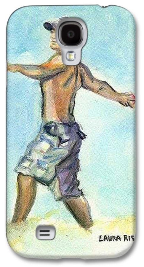 Man On Beach Galaxy S4 Case featuring the painting Beach Boy by Laura Rispoli