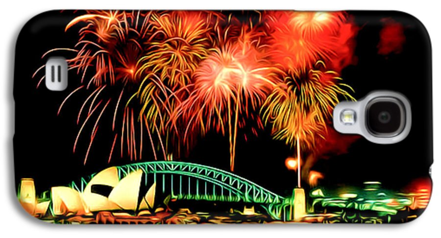 Beautiful Colorful Holiday Fireworks Galaxy S4 Case featuring the painting Beautiful Colorful Holiday Fireworks 2 by Lanjee Chee