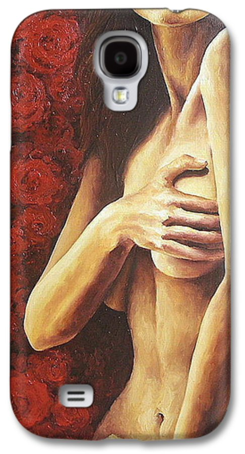 Nude Galaxy S4 Case featuring the painting Bed Of Roses 1 by Trisha Lambi