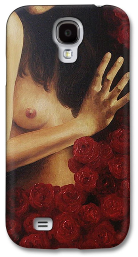 Nude Galaxy S4 Case featuring the painting Bed Of Roses 3 by Trisha Lambi