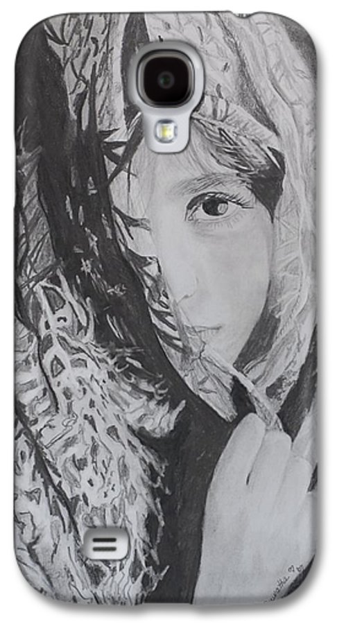 Graphite Galaxy S4 Case featuring the drawing Behind The Veil by Quwatha Valentine